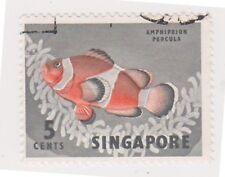 (K65-221) 1962 Singapore 5c orange clown fish (AW)