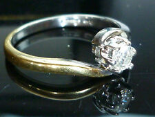 Stunning NEW 18ct Yellow & white gold 0.25ct diamond solitaire ring heavy Oct30