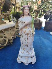 Belle statue ancienne VIERGE en porcelaine de Paris 19éme / Décor en polychrome