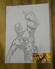 Dare Devil Original Art Sketch Signed by Blond with COA 12 X 9