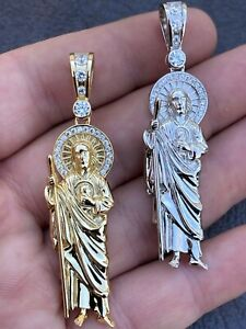 Men's Real Solid 925 Sterling Silver / Gold St Jude San Judas Tadeo Iced Pendant
