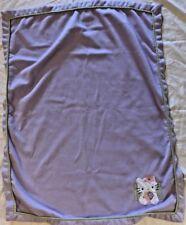 "Lambs & Ivy Purple Hello Kitty Baby Fleece Blanket Flower Girl Lovey 38"" x 30"""