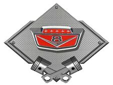 "1965 Ford F100 Truck Emblem Badge Heavy Duty Flat metal  25"" X 19"" - Silver"