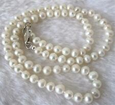 "Long 30"" 8-9mm Real Natural White Akoya Cultured Pearl Hand Knotted Necklace"