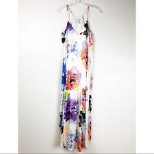 Nicole Miller Size 14 Floral Watercolor Maxi Dress with Pockets Fully Lined
