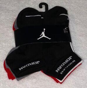 NIKE Air Jordan 6 Pack Black Red No Show Socks NEW Boys M Fits Youth Shoes 5y-7y