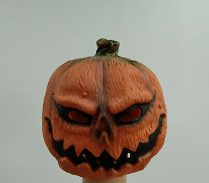 Scary Evil Pumpkin Head Ghoul Latex Mask Halloween Props Horror Jack-O'-Lantern
