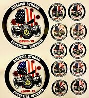 America Strong Essential Worker Hardhat Sticker Master Pack