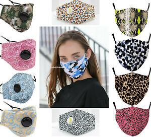 UK x2 Filtres Sécurité Léopard Masque Visage Vent Coton Réutilisable Nez Housse