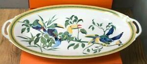 "Hermes 24"" x 11"" Porcelain Fish Platter - Toucans Design - Crafted in Limoges"