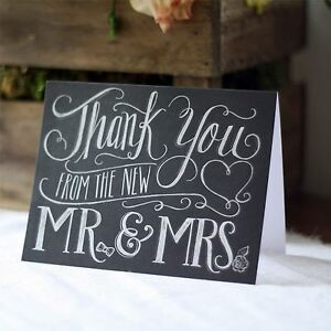 8 x Thank You From The New Mr & Mrs - Chalkboard Calligraphy Card