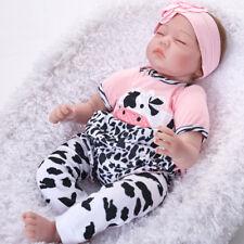 "22"" Reborn Baby Dolls Handmade Silicone Sleeping Realistic Newborn Girl Gift UK"