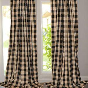 Buffalo Checkered Polyester Curtain Window Treatment/Décor Black and Tan