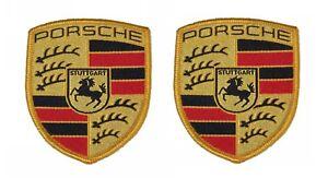 Pair Of New Genuine Porsche Fabric Sew On Coloured Crest - Seats Overalls Coat