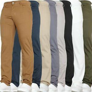 Mens Chino Jeans Slim Stretch Skinny New Trousers Work Pants Waist Von Denim
