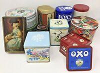 Job lot Vintage Adverting Tins Mackintosh's Oxo Cubes Huntley&Palmer Macfarlane