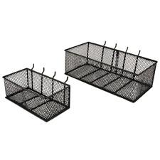 Steel Mesh Pegboard Basket in Black 2 Pack Garage Storage Organizer Rustproof