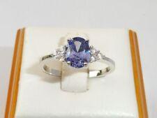 Anelli di lusso con gemme viola in argento sterling pietra principale zaffiro