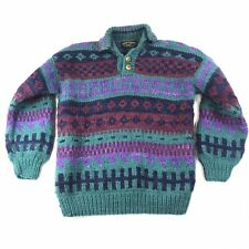 Vintage Backcountry 100% Wool Knitted Sweater Multicolor With Buttons #1108