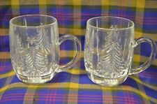 Pair of Heavy Crystal Etched MISAKA Handled Mugs w/Christmas Tree Design