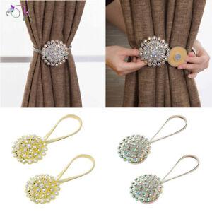 Crystal Magnetic Curtain Tiebacks Buckles Voile Drape Tie Backs Holdback Clips
