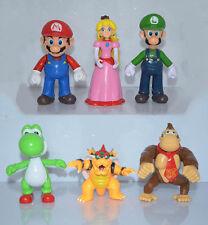 Lot 6 pcs Super Mario Bros Luigi Bowser Peach Donkey Kong Monkey Figure Doll Toy