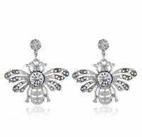 Elegant Women Bee Rhinestone Pendant Drop Dangle Earrings Ear Stud Jewelry