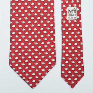 HERMES TIE 5541 UA Sheep & Cloud on Red Classic Twilly Silk Necktie
