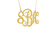 HANDMADE Personalised Monogram Necklace-Name Necklace 18K Gold Plated 1.75''