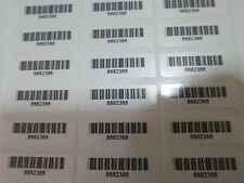 600 White Glossy Personalized Waterproof Bar Code Name Stickers Labels QR Code
