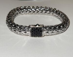 $1450 JOHN HARDY Classic chain LAVA BLACK SAPPHIRE BRACELET Sterling Pre-owned