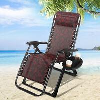 Portable Zero Gravity Chair Garden Recliner Heavy Duty Beach Sun Lounger W/Tray