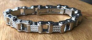 bike chain Lab Diamond bracelet Men's Stainless Steel