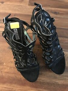 Womens Charles Style Black Wedge Sandals Dress Shoes size 8M