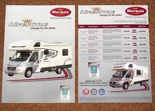 2012 MARQUIS LIFESTYLE MOTORHOMES Sales Brochure & Price List - Fiat Ducato