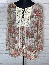 Denim & Supply Ralph Lauren Claire Mesh Floral Lace Henley Boho Blouse Top M