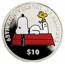 2015 Snoopy Woodstock Peanuts $10 1oz Silver Proof Coin, 65th Anniv