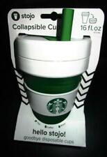 2020 STARBUCKS STOJO WHITE GREEN  COLLAPSIBLE CUPS 16 OZ PHILIPPINES WITH STRAW