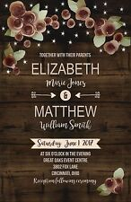 Wedding Invitations Wood Flowers & Lights Rustic 50 Invitations & RSVP Card