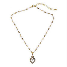 Faux Pearl Gold Necklace Exquiste Anthropologie Crown Heart Rhinestone