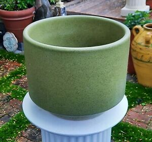 '70s AVOCADO green gainey ceramics planter mcm speckle vtg calif pottery vase
