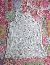 Crochet Cream Ruffle Lace Halter Top sz 8