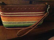Pendleton Casa Grande Straw and Leather Wristlet NWT