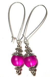 Long Silver Dainty Cerise Pink Earrings Frosted Glass Bead Drop Dangle Boho Chic