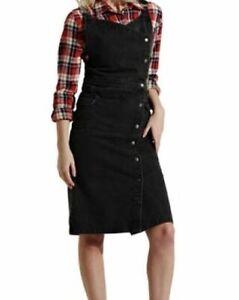 Wrap Denim Dress - Washed Black Popper Front Fastening Pinafore (Nola)