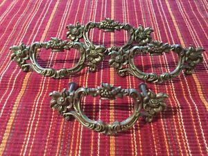 4 pcs antique vintage brass drawer pulls/handles