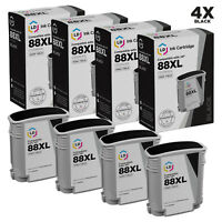 LD Remanufactured Replacements for HP 88XL / C9396AN HY Black Ink Cartridges 4PK