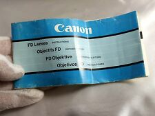 For sale is Used Camera FD lenses   Guide O313