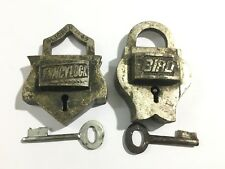 2 pc old or antique brass rare and decorative shape padlocks with key aligarh