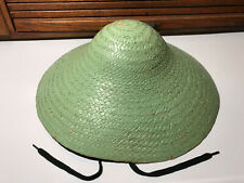 """Vtg Green Asian Chinese Bamboo Hat Woven Straw Coolie Garden Fishing Rice 16"""""""